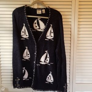 Womens 1X CJ Banks Nautical Navy Sweater
